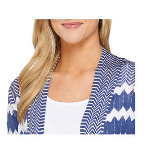 Attitudes by Renee Sweaters - Attitudes by Renee Open Front Printed Cardigan